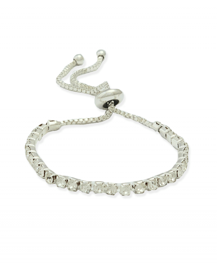 Crystal Bracelet Adjustable Silver Plated