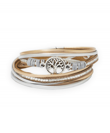 Tree of Life Beige Crystal Wrap Bracelet - 186227