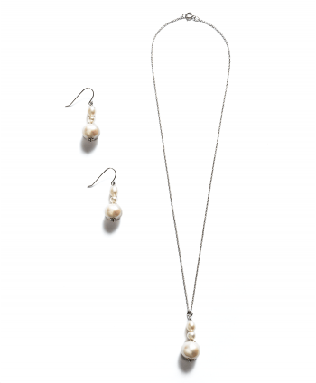 Sterling Silver Stacked Pearls Set - 623729