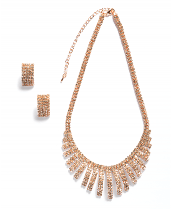 Rose Gold Crystal Bib Set - 254239