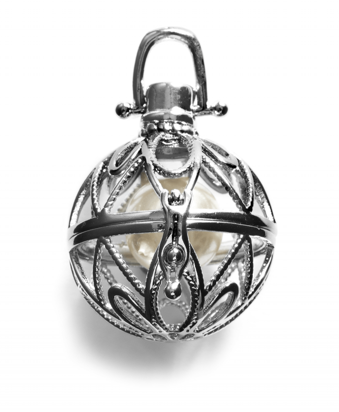 Caged Round Pendant With Pearl - 570429