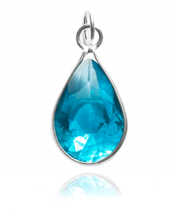Sterling Silver Cubic Zirconia Tear Drop Pendant (Blue Topaz) - 622618