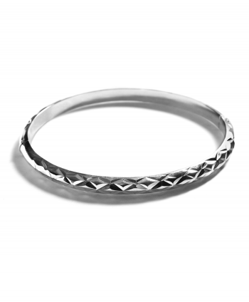 Sterling Silver Diamond Cut Bangle - 871850