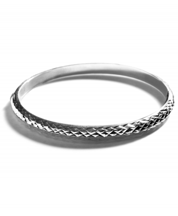 Sterling Silver Oval Diamond Cut Bangle - 871950