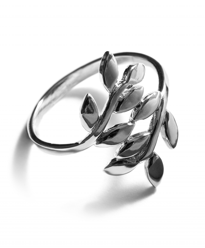 Sterling Silver Olive Leaves Ring - 9046