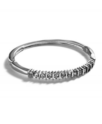 Silver Plated Crystal Inlay Bangle - 182431