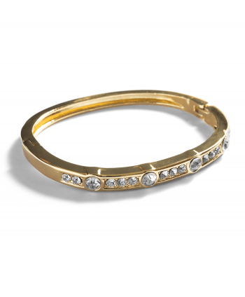 Gold Plated Crystal Inlay Bangle - 182802