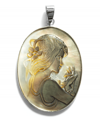 Carved Cameo Oval Pendant - 570903