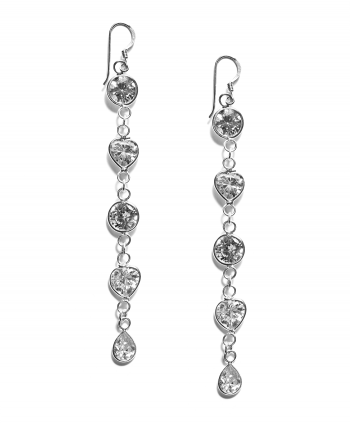 Cubic Zirconia Link Drop Earrings - 685431
