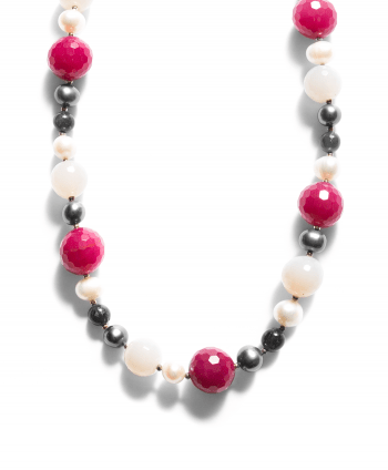 Semi-Precious Stones Necklace Raspberry & White - 748528