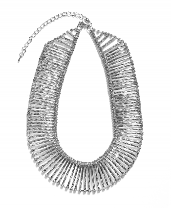Princess Collar Crystal Necklace Silver Plate - 766831