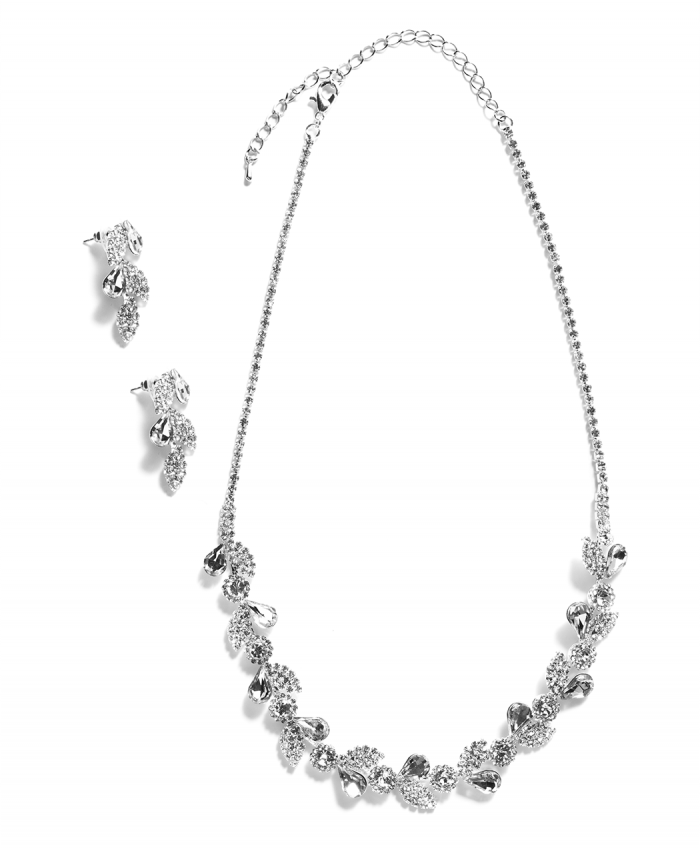 Silver Plated Spring Leaves Crystal Set - 251530