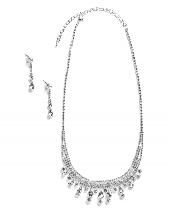Silver Plated Pear & Round Crystal Set - 251630