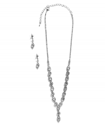 Marquise & Round Crystal Set Silver Plate - 261630